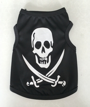 High Quality Puppy Small Dog Teddy Black Cool Pirate Skull Shirt Printed Clothes Breathable Clothing Summer Vests Pet Products