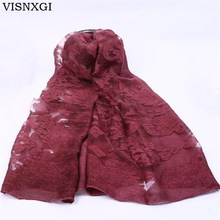 VISNXGI 2017 New Lace Women Scarf Fashion Summer Long Size Shawls Silk Pashmina Lady Wrap Elegant Female Bandana Beach Stoles(China)