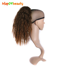 MapofBeauty Long Curly Claw Ponytail Clip in Hairpiece Pony Tail brown black 40cm Synthetic Hair Accessories Hair Extensions