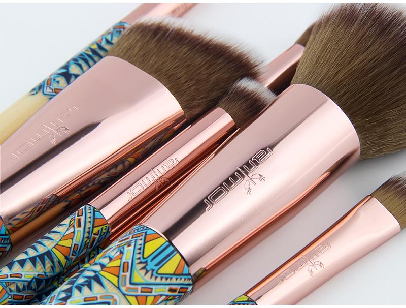 Nouveau Maquillage Brosses 12 pcs Ensemble En Bambou Make Up Brosse Souple Synthétique Collection Kit avec Poudre Contour Fard À Paupières Sourcils Brosses 7