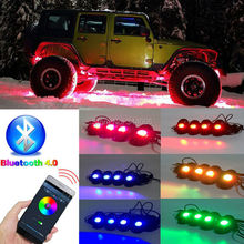 RGB LED Rock Light Bluetooth Wireless Remote Controller Timing Music Rocking Lamp for JEEP Off Road Truck Car ATV SUV Vehicle