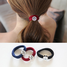 Accessories brief gentlewomen rhinestone crystal headband hair rope seamless joint rubber band horseshoers(China)
