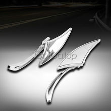 UNIVERSAL CHROME BLADE MOTORCYCLE CRUISER CUSTOM REARVIEW MINI MIRRORS 8MM 10MM