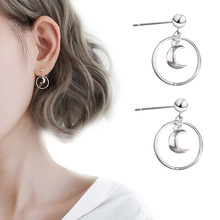 Summer Style Geometric Silver Plated Earrings Korea Girl Trend Earrings Moon Circle Temperament Simple Crescent Earrings Female