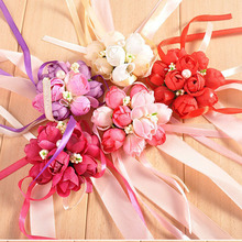 Hot Beautiful Bridal Bridesmaid Corsage Ribbon Wrist Flowers Wedding Supplies Bracelet Decor Petals Garlands