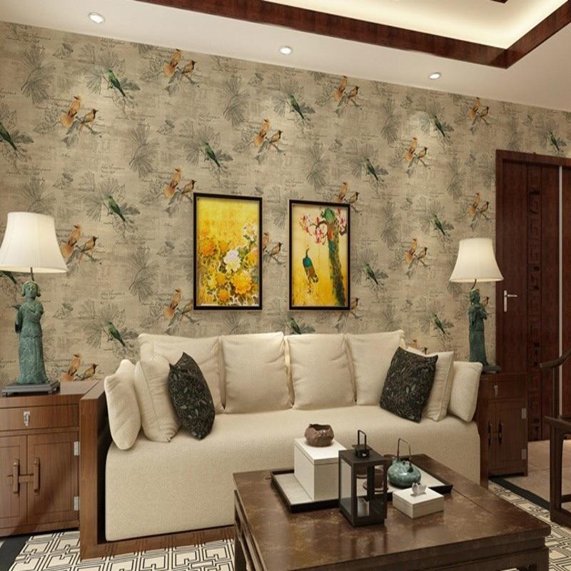 Free Shipping Retro Nostalgic Wallpaper Classical Flower Birds Bedroom Wallpaper Pastoral Living Room Restaurant wallpaper<br>