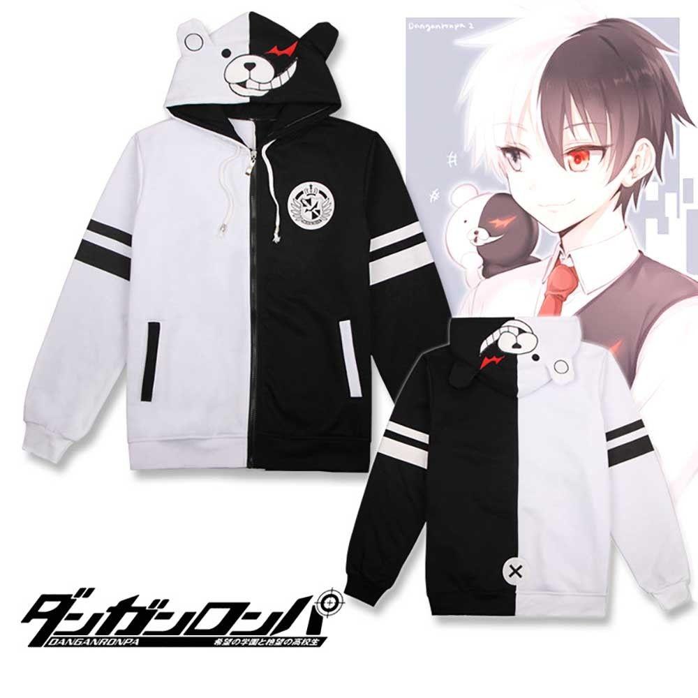 Black//White/_4 BAIMORE Danganronpa Monokuma Anime Zipper Hoodie Black /& White Bear Unisex Short Sleeve Cosplay T-Shirt Large