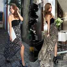 Alishebuy party dress women dresses new fashion 2013 Leopard Chiffon Bustier Maxi Evening Club Dress F(China)