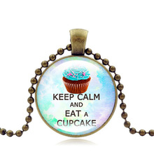2017 jewellery Keep calm and eat a cupcake Necklace Chain cake Pendant fashion necklace women party gifts for best friends