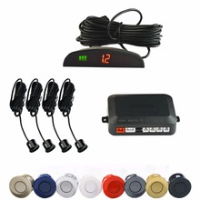 Viecar Car LED Parking Sensor Kit 4 Sensors 22mm Backlight Display Reverse Backup Radar Monitor System 12V 7 Colors