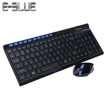 E-3LUE K825 1600DPI 2.4GHz Wireless Keyboard+Wireless Mouse 10 Buttons  Ultra Thin  Blue Backlight Suitable For Office Gaming