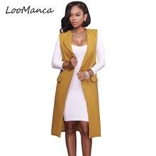 Vest female red yellow black women open stitch pockets jacket woman vests 2017 New long waistcoat fashion blazer female