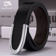 DINISITON Fashion men's belt genuine leather male strap cowhide belts man cowskin belt smooth buckle waist belt gift for man(China)