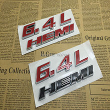 2pcs 6.4L HEMI Car 3D Letter Emblem Sticker Rear Badge For Dodge Challenger SRT8 HEMI Logo Styling Trunk Decal Red Black