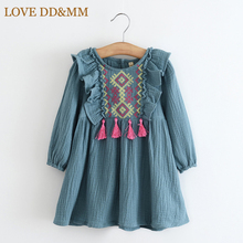 Girls Clothing Dresses 2017 Spring Girl Fashion Fringed Embroidery Ear Long-sleeved Dress Kids Clothes(China)