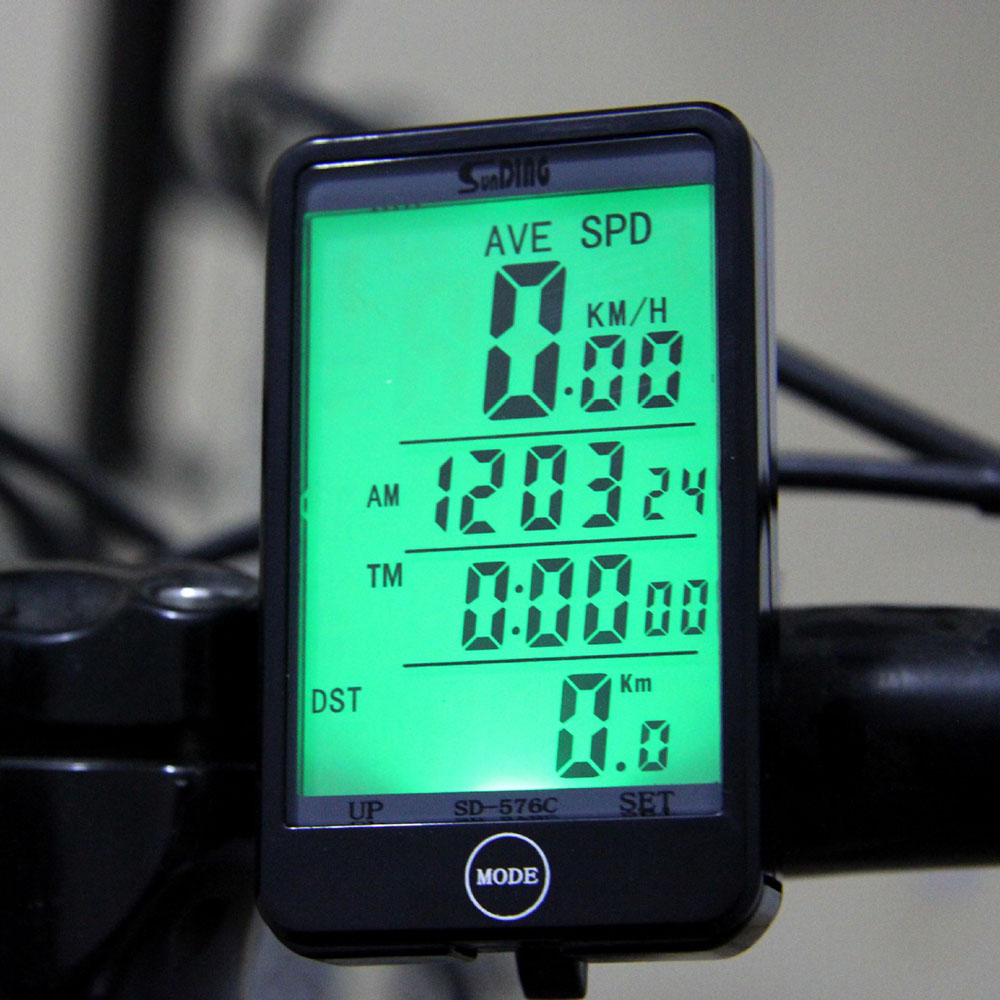 SD-576C Bike Computer Waterproof LCD Display Cycling Bike Bicycle Computer Odometer Speedometer with Green Backlight(China (Mainland))