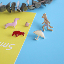 Free Shipping Cute Fox Umbrella Dog Peach Enamel Brooch Pin Wholesale Jeans Clothes Metal Badge Jewelry For Women
