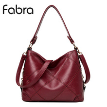 Fabra Fashion PU Leather Handbag Women Messenger Bags Vintage Shoulder Crossbody Bags Small Casual Tote Wine Red 29x12x24 CM