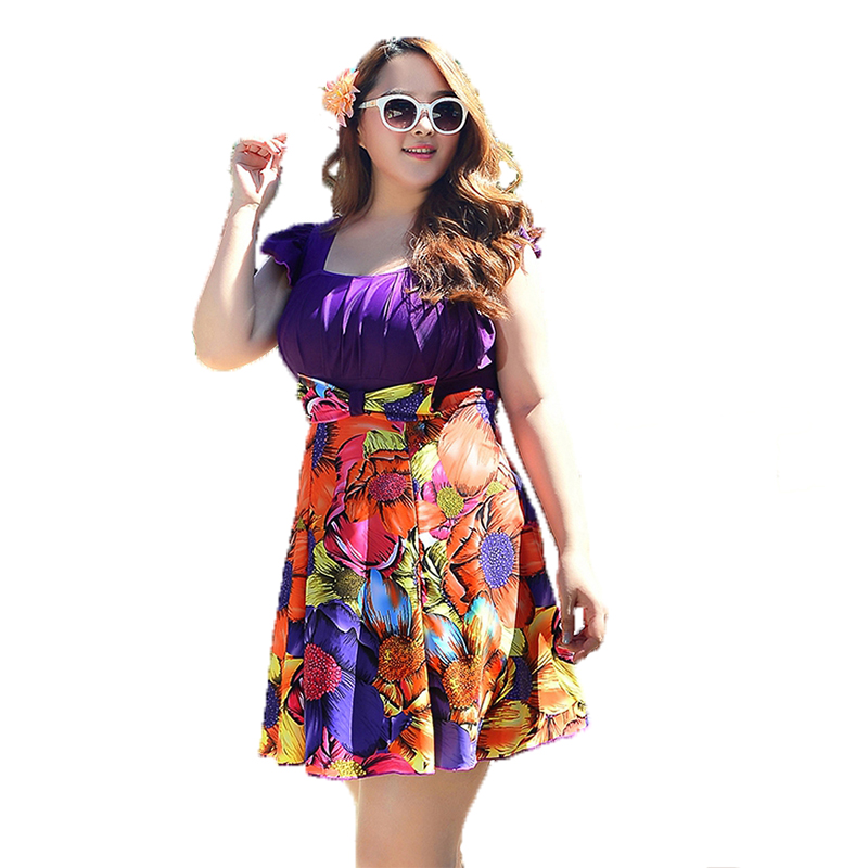 New Plus size Summer clothing Big women swimsuit Floral One Pieces Swimwear Lady Beach dress 2 Color Summer Bathing Suit<br>