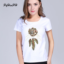 PyHenPH Rose T-shirt women harajuku Rose Heart  Printed women t shirt Short sleeve  tshirt women tees tops summer clothing