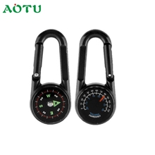 Activing Outdoor Camping Hiking Mini Carabiner Keychain Compass Thermometer DEC.8