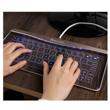 Glass Keyboard for Windows Ios Touch Ultra-thin Tempered Glass Reinforced Glass Micro USB Wired Keyboard