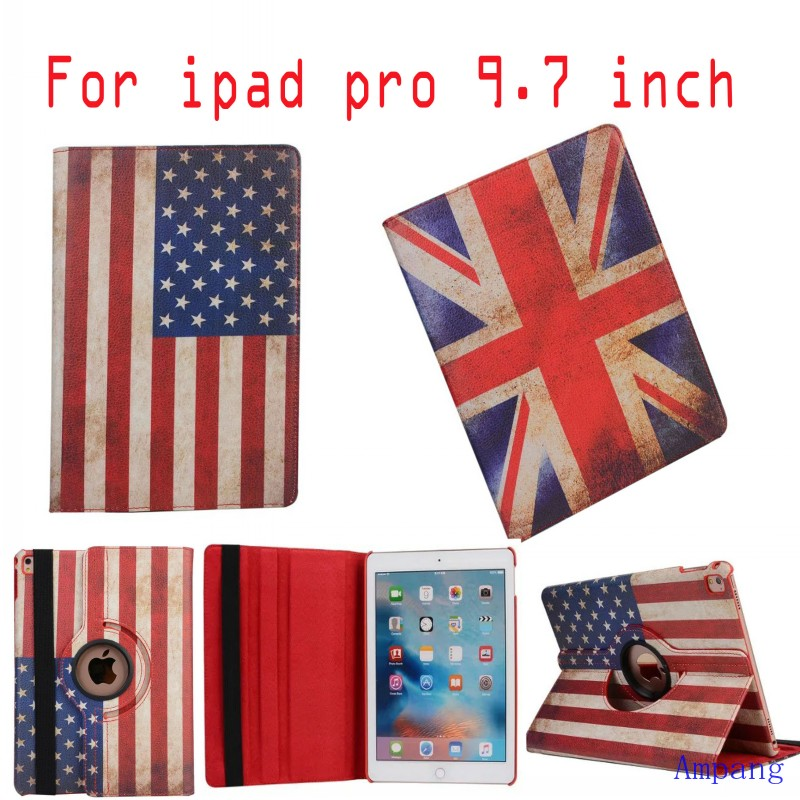 50pcs For iPad Pro 9.7 Case PU Leather Rotating Cover for iPad Pro Case 9.7 inch UK and USA Flag Cover Case for iPad Pro 9.7<br><br>Aliexpress