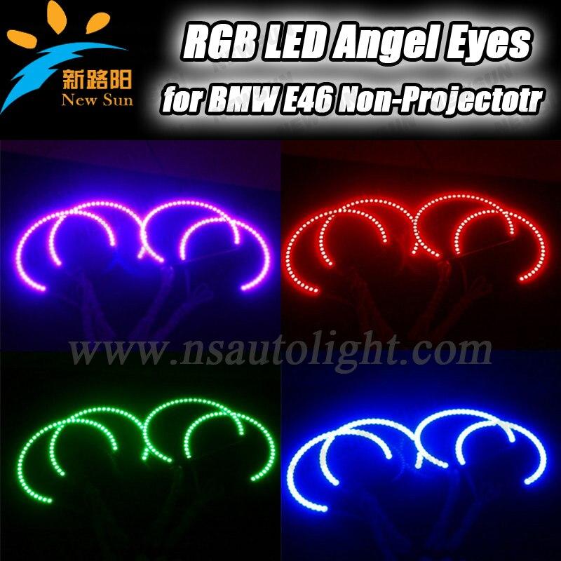 Factory sale car angel eye projector headlight rgb multicolor led angel eyes 131mm 145mm error free headlight for e46 nonproject<br><br>Aliexpress