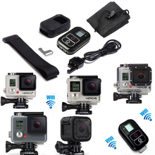 GoPro Smart WiFi Remote Control+RC Charger Cable+Silicone Case+Key Chain+Bag+Remote Wrist Strap For Gopro Hero 4 Session 3 3plus(China)