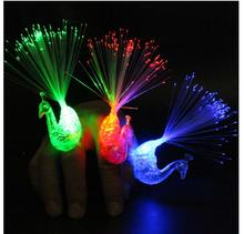 36pcs/lot LED Peacock Finger Ring Beams Party Nightclub Gadget Glow Laser Light Torch Fun Event & Party Supplies peacock design