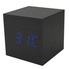 GSFY-Wood Cube LED Alarm Control Digital Desk Clock Wooden Style Room Temperature Black wood blue led