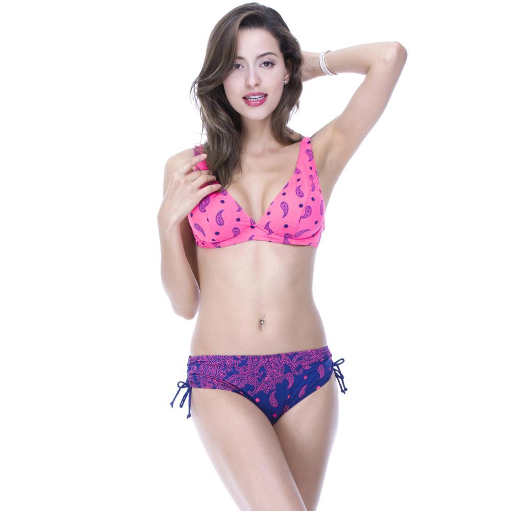 Plus Size Swimwear Women Mid Waist Swimsuit Print Colorful Vintage Retro Underwire Large Push Up Bikini Set<br>