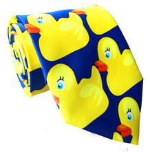 Men's Fashion Animal Ties for Mens Tie Ducks 2017 How I Met Your Mother Film Rubber Ducky Tie Novelty Printed Yellow Necktie(China)