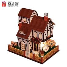 Flower Town Euro three-storey Villa DIY Wood Doll house 3D Miniature Lights+Furnitures Building model Home&Store decoration Toys(China)