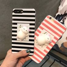 Cute Cat Funny 3D Squishy Toy Fidget Stress Reliever Cell Phone Cases For iPhone 7Plus 6s Black White Stripe Back Cover Coque(China)