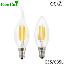ECO CAT 2017 New Design LED Filament E14 Bulb 2W 4W 6W 8W AC 220V 240V Lamp Edison Glass Candle Lights Lighting For Chandelier(China)