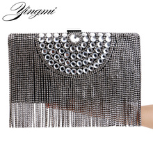 YINGMI One Side Rhinestones Tassel Women Evening Bags Beaded Gold/Silver/Black Day Clutches Purse Evening Bags For Wedding