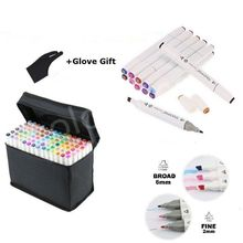 Original TOUCHNEW 80 Color Marker Pen Set Copic Sketch Touch Marker White Body Art Markers Paintiing Pens for School+Glove Gift