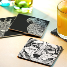 Creative Wood Coasters Cup Pad Non-slip Heat Proof Coffee Drink Coasters Cup Mat DIY Hand Painted Animal V3205