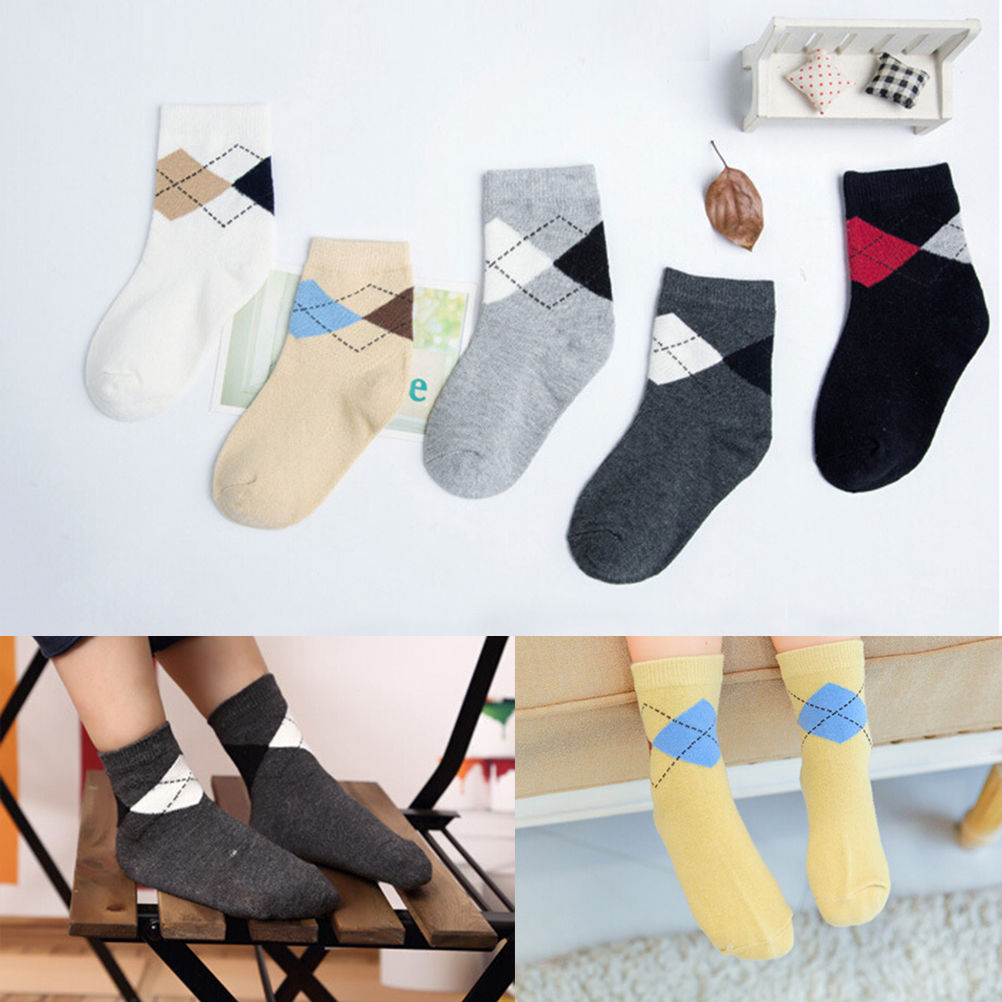 5Pairs/lot Casual Lozenge Cotton Socks Children Kids Boy Fashion Socks British Style Socks For Baby Size S-XL
