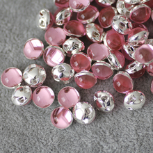 8mm 50pcs/lot silver Plate Pink Sew on Rhinestone Beads, Sew On Rhinestones for Garment Jewelry Sew on Pearls With 4 Holes
