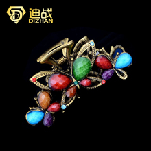 Vintage Bohemia Large Hair Claw Metal Resin Butterfly Hair Claw Hairpins three butteflies Hair Claw for women hair Accessories(China)