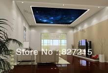 u-9436 stars in beautiful sky printing stretch ceiling films with chandeliers for kid's room decoration