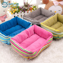 Cute Rainbow Striped Dog Beds Rectangle Warm Pet Dog House Puppy Cushion Mat Pet Sleeping Bag Fast Shipping(China)