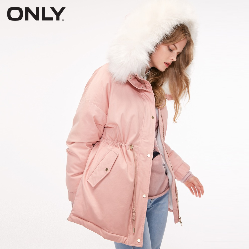 ONLY  womens' winter new large fur collar drawstring cotton coat jacket Adjustable cuff Detachable fur collar|118322515
