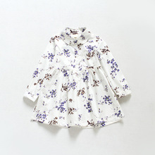 toddler girl dresses 2017 new baby girl dress doll collar floral printed princess costume spring long sleeve shirt dress 2-7T(China)
