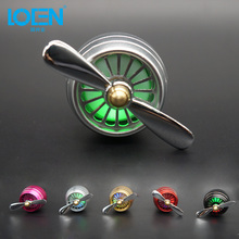 LOEN 1PCS Car Air Freshener LED Air Conditioner Vent Flavoring AUTO Perfume High Grade Air Conditioning Tuyere Perfume Mini fan(China)