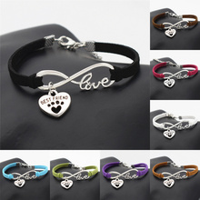New Unique Dogs Store Best Friend Gifts for Women Men Antique Silver Cute Pets Dog's Paw Heart Charm Infinity Love Bracelets