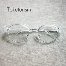 Toketorism Retro Classic eyeglasses Half Metal Frame clear lens glasses men women gafas W5188(China)
