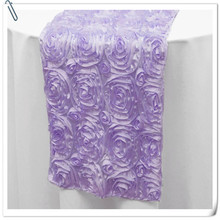 20pcs Top Quality 3D Rosette Embrodiery Purple Table Runners 30x275cm For Weddings Events &Party &Banquet Decoration
